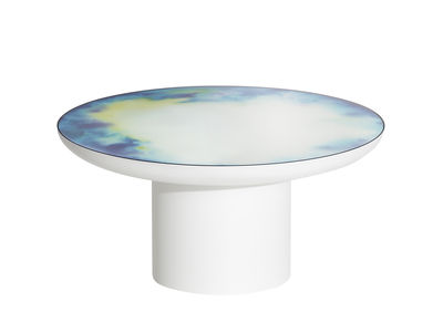 Furniture - Coffee Tables - Francis Large Coffee table - / Ø 75 x H 36 cm - Mirror by Petite Friture - White / Coloured mirror - Coloured toughened safety glass, Painted steel