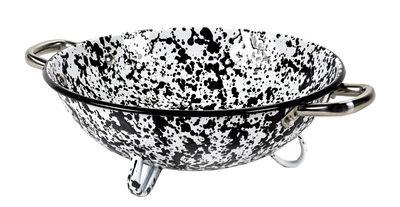 Kitchenware - Kitchen Equipment - Pasta Pasta Colander - / Enamelled steel by Serax - Black & white - Enamelled steel
