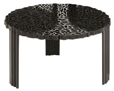 Couchtisch T-Table Basso von Kartell - Opakschwarz - h 28 x Ø 50 ...