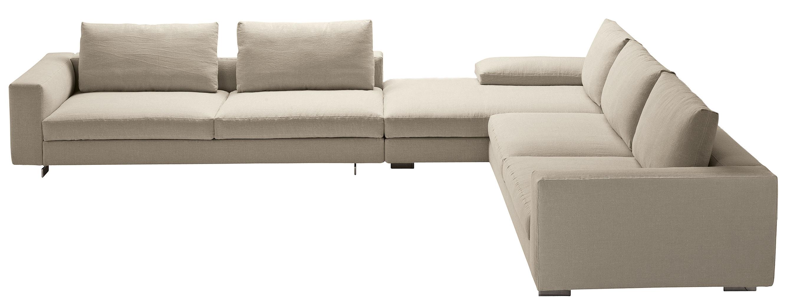 Arredamento - Divani moderni - Divano d'angolo Scott - / Composizione: 2 x divani + meridiana di Zanotta - Bianco - Acciaio, Alluminio lucido, Plumes d'oie, Schiuma di poliuretano, Tessuto