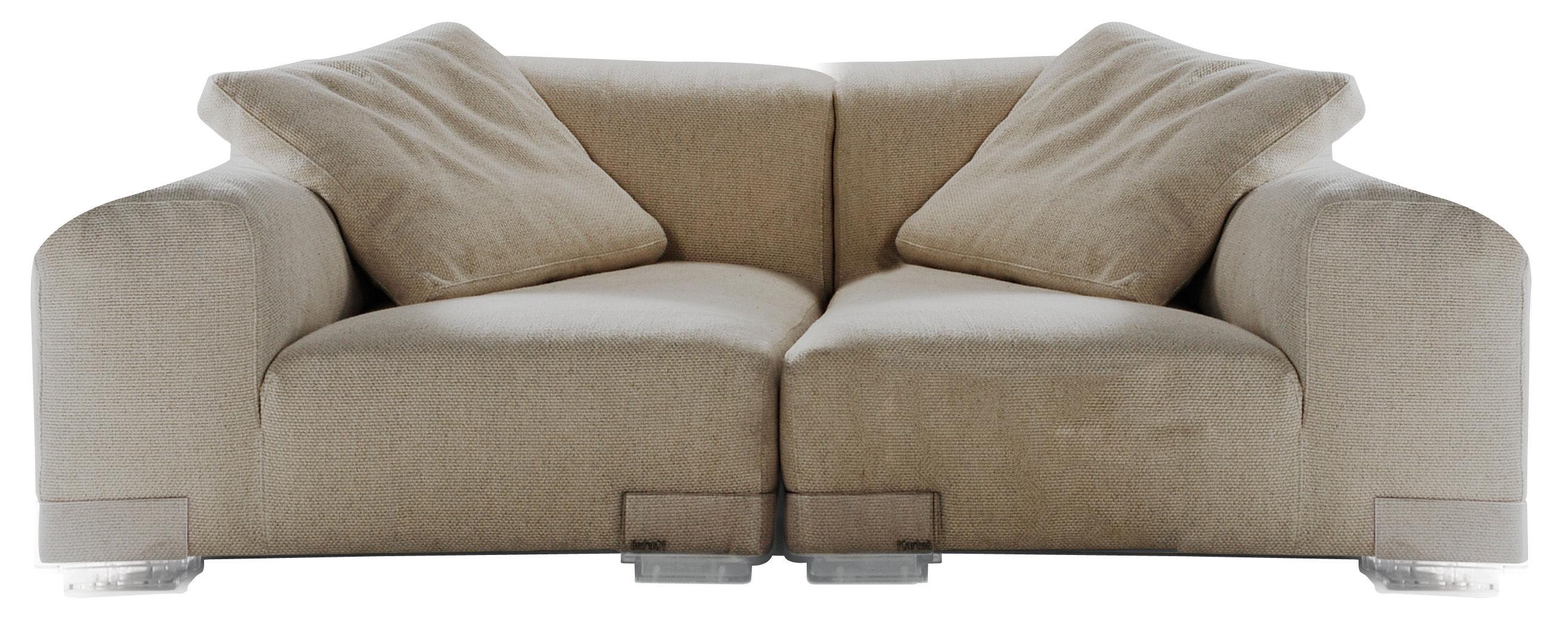 Arredamento - Divani moderni - Divano destro Plastics Duo - Composizione 1 di Kartell - Grigio tortora - policarbonato, Tessuto