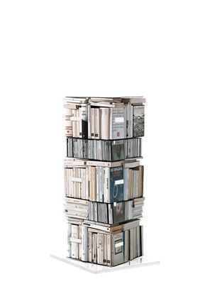 Möbel - Regale und Bücherregale - Ptolomeo Drehbares Bücherregal 4 Seiten - für stehende und/oder liegende Bücher - Opinion Ciatti - Weiß - H 110 cm - lackierter Stahl