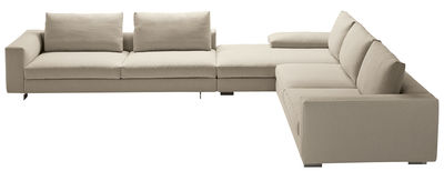 Möbel - Sofas - Scott Ecksofa / Kombination: 2 Sofas + 1 Chaiselongue - Zanotta - Weiß - Gewebe, Plumes d'oie, poliertes Aluminium, Polyurethan-Schaum, Stahl
