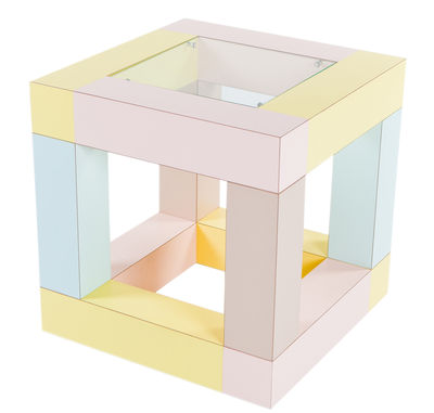 Furniture - Coffee Tables - Mimosa End table by Memphis Milano - Multicolored - Glass, Plastic laminate, Wood