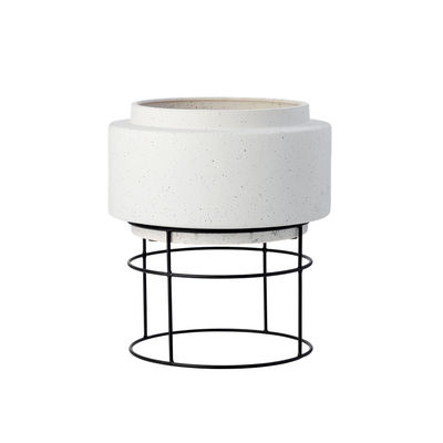 Decoration - Flower Pots & House Plants - Botanique Flowerpot - / Ø 34.8 x H 40.5 cm - Ceramic by Bolia - Ø 34 cm / Grey & black - Ceramic, Steel