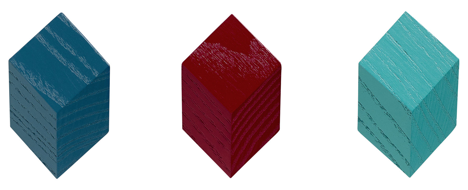 Furniture - Coat Racks & Pegs - Iso Hook - Set of 3 by Hay - Red / Green - Painted ashwoodwood