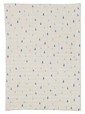 Dekoration - Für Kinder - Cone Kinderdecke / gesteppt - 100 x 70 cm - Ferm Living - Blaue Motive auf grauem Grund - Gewebe, Polyesterfaser