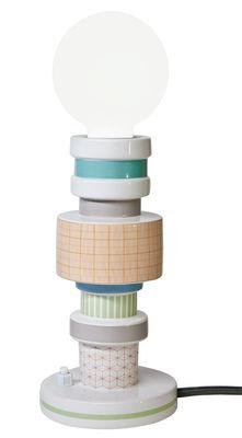 Luminaire - Lampes de table - Lampe de table Moresque / Porcelaine - Seletti - Motifs Squared - Porcelaine, Tissu