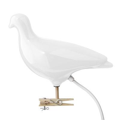 Déco - Tendance humour & décalage - Lampe Pigeon / à clipser ou à fixer au mur - Thorsten Van Elten - Pop Corn - Blanc / Câble blanc - Hêtre, Perspex