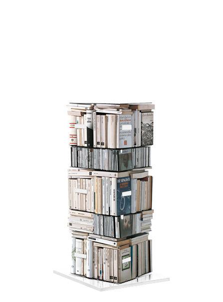 Arredamento - Scaffali e librerie - Libreria girevole Ptolomeo - 4 lati - Disposizione orizzontale/verticale di Opinion Ciatti - Bianco - H 110 cm - Acciaio laccato