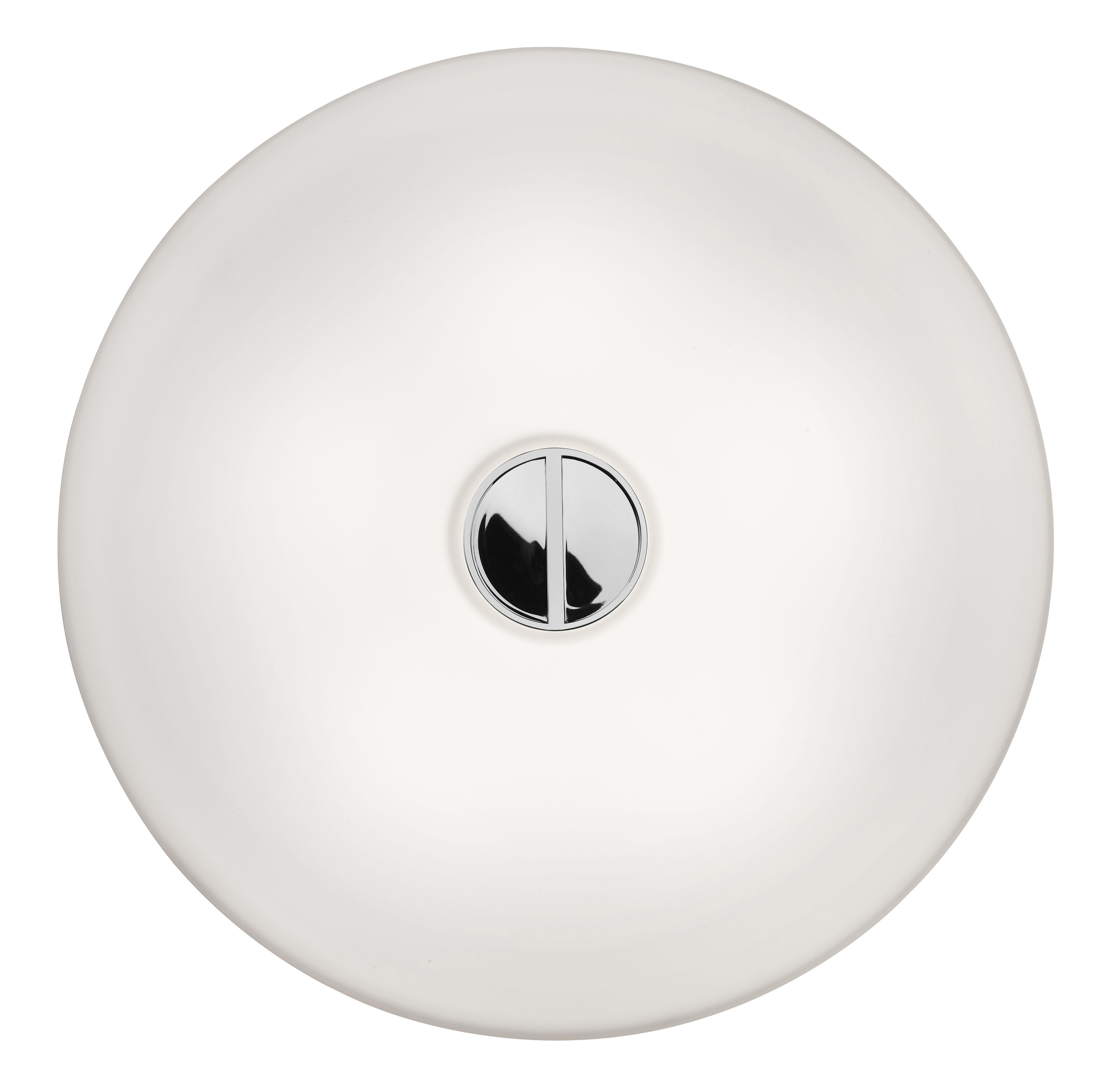 Leuchten - Wandleuchten - Button Outdoor-Wandleuchte Deckenleuchte – Glasversion - Flos - Weißes Glas - Glas