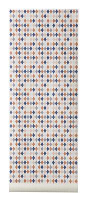 Déco - Pour les enfants - Papier peint Happy Harlequin / 1 rouleau - Larg 53 cm - Ferm Living - Corail, rose, bleu, gris & blanc - Toile intissée
