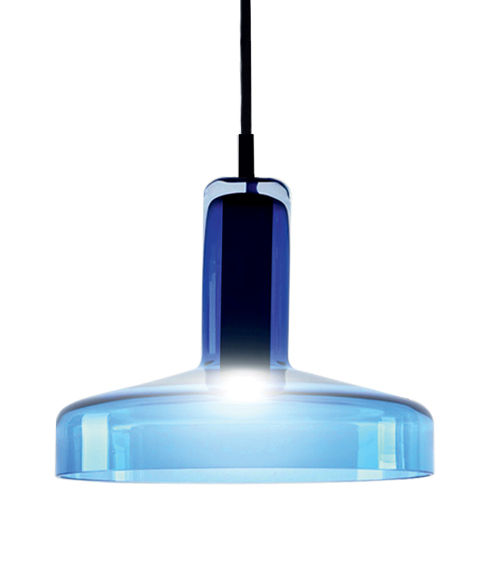 Lighting - Pendant Lighting - Stab Light Medium Pendant - LED - Ø 21 x H 17 cm by Danese Light - Aquamarine - Blown-moulded glass, Metal