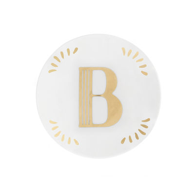 Tavola - Piatti  - Piatto per dolcetti Lettering - / Ø 12 cm / Lettera B di Bitossi Home - Lettera B / Or - Porcellana