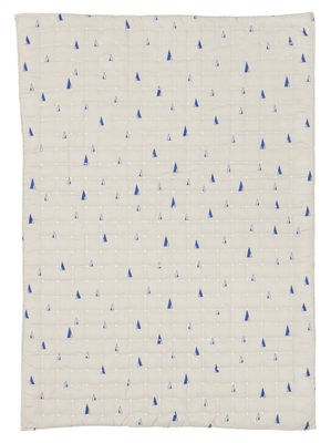 Interni - Per bambini - Plaid per bambini Cone - / Trapuntato - 100 x 70 cm di Ferm Living - Motivi in blu / Sfondo grigio - Poliestere, Tessuto