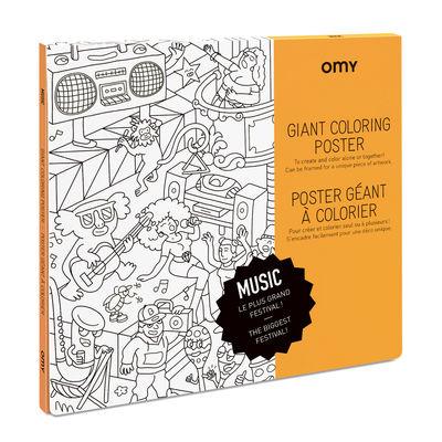 Poster à colorier Music / 100 x 70 cm - OMY Design & Play blanc/noir en papier