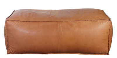 Mobilier - Poufs - Pouf Soft Brick en cuir véritable / 120 x 60 cm - House Doctor - Cuir marron - Cuir, Polystyrène
