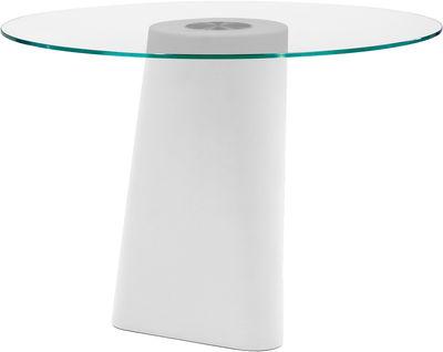 Outdoor - Tische - Adam Runder Tisch / Ø 100 cm - B-LINE - Fuß weiß / Tischplatte transparent - Einscheiben-Sicherheitsglas, Polyäthylen