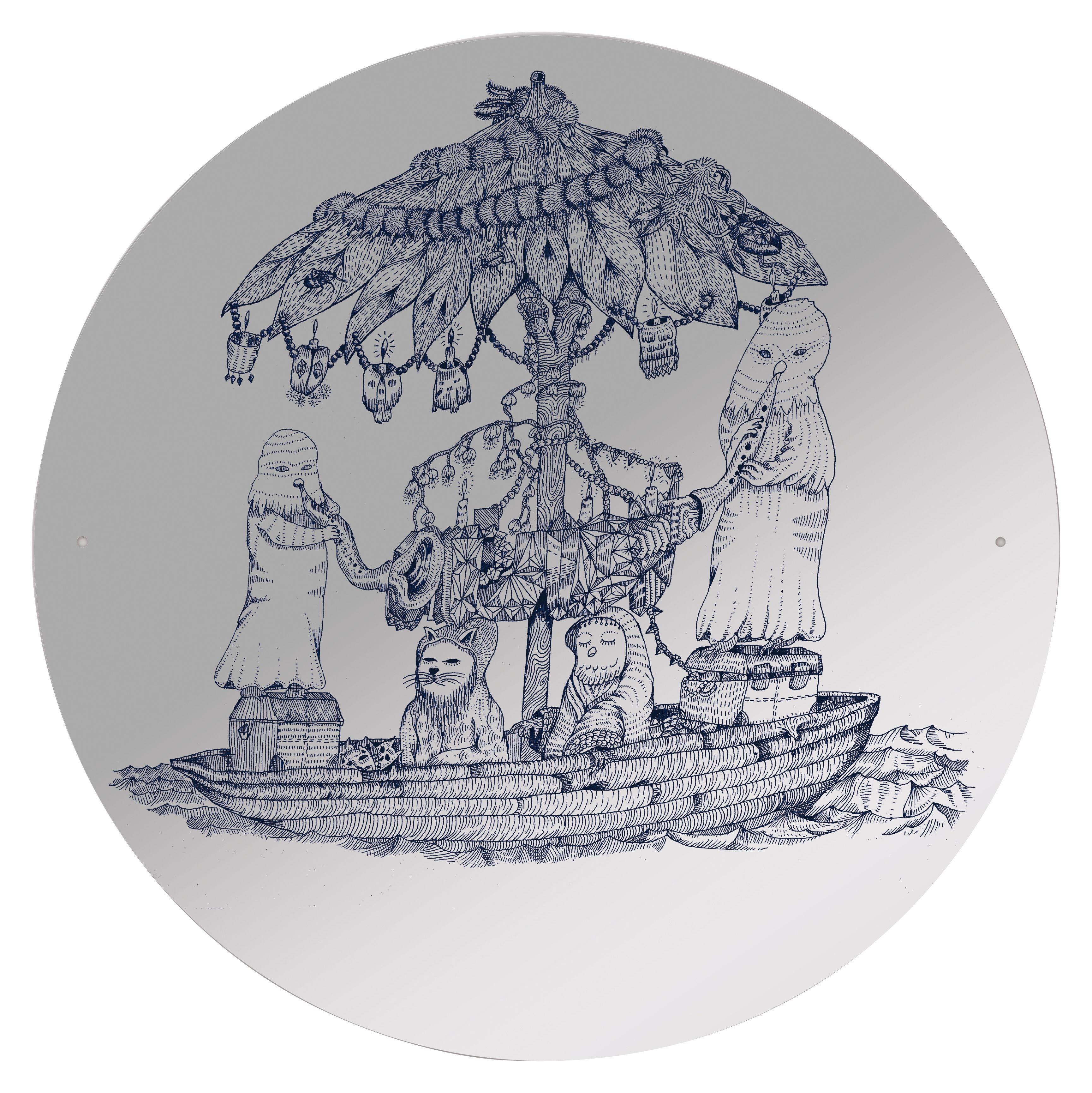 Furniture - Mirrors - Opulant boat self-sticking mirror - Self-adhesive by Domestic - Opulant boat pattern - Plastic material
