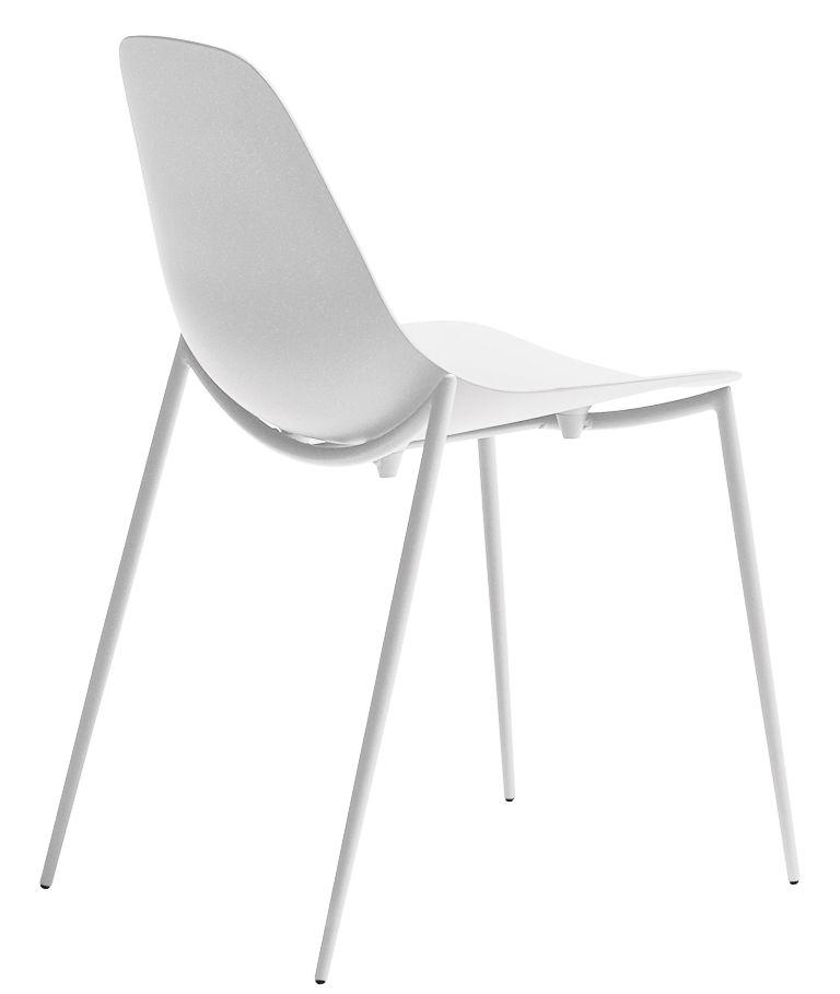 Furniture - Chairs - Mammamia Stacking chair - Metal shell & legs by Opinion Ciatti - White - Aluminium, Metal