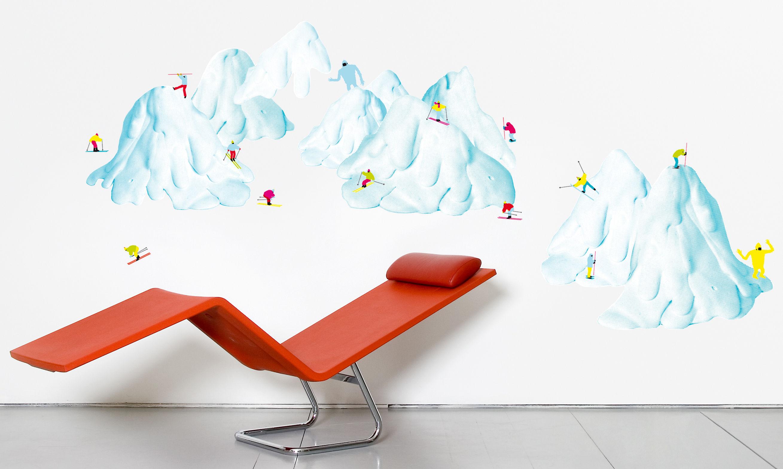 Dekoration - Stickers und Tapeten - Slalom 2 Sticker - Domestic - Mehrfarbig - Vinyl