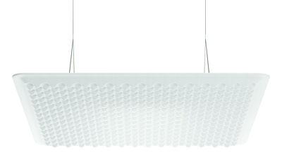 Luminaire - Suspensions - Suspension acoustique Eggboard LED / 80 x 80 cm - Artemide - Blanc - PET, Tissu élastique