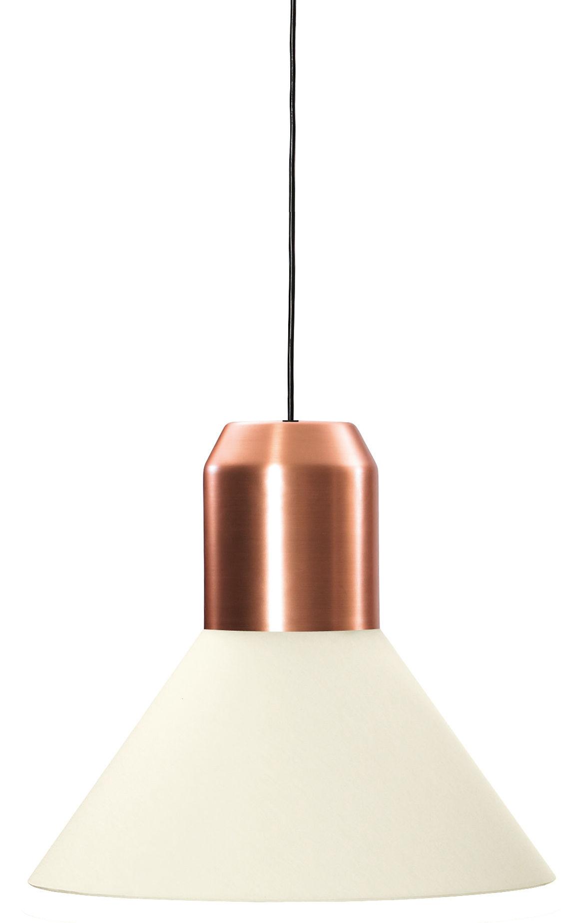 Luminaire - Suspensions - Suspension Bell Light / Ø 45 x H 40 cm - ClassiCon - Blanc & cuivre - Cuivre, Tissu