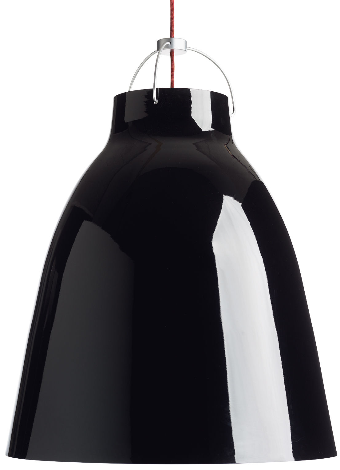 Luminaire - Suspensions - Suspension Caravaggio XL / Ø 55 cm - Lightyears - Noir brillant / Câble rouge - Aluminium laqué