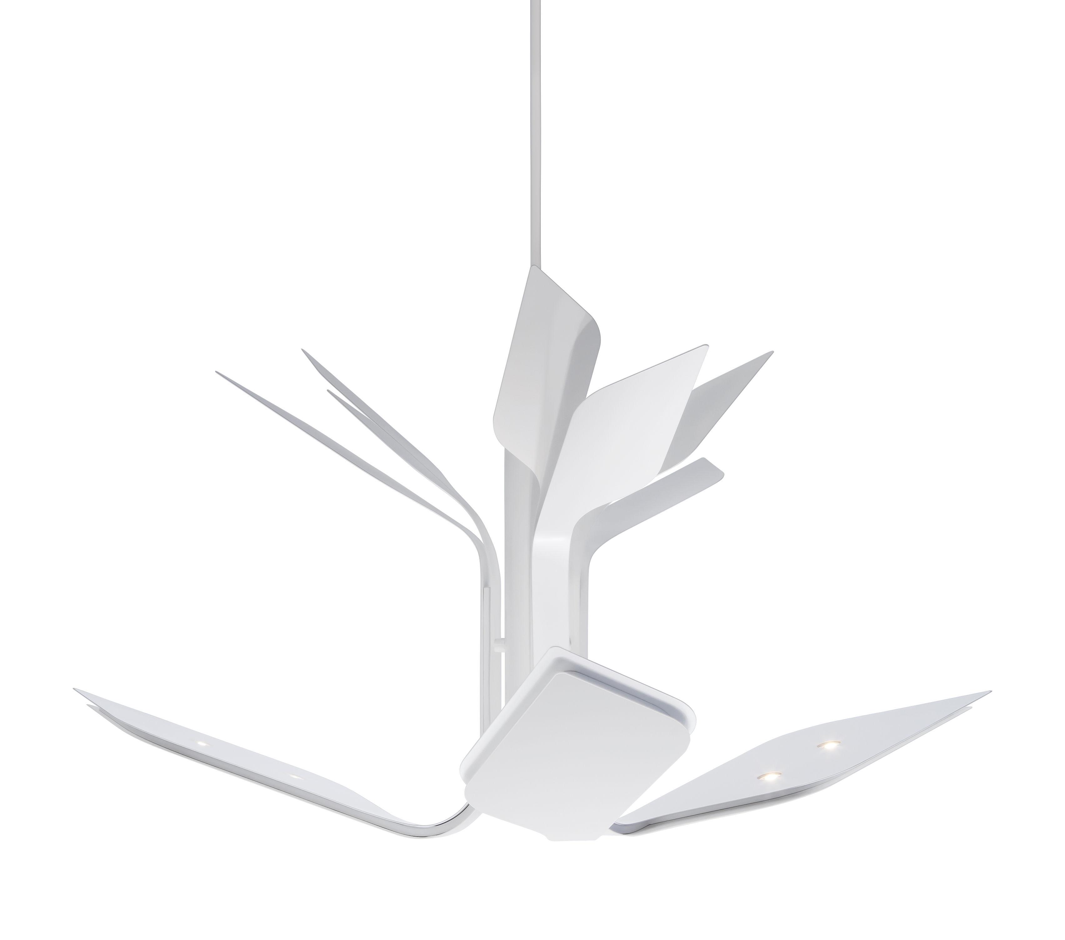 Luminaire - Suspensions - Suspension Foliage S3 / LED -  3 bras - Ø 110 cm - Lumen Center Italia - Blanc mat - Aluminium