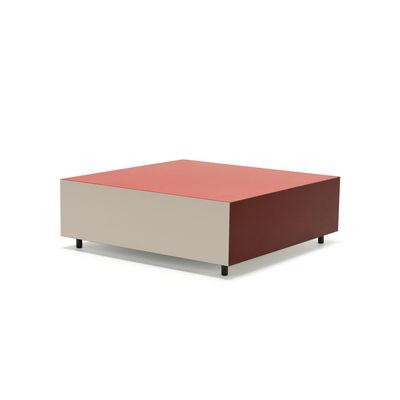 Mobilier - Tables basses - Table basse Bloc Medium / 1 tiroir - 85 x 85 cm - Established & Sons - Rouge vif, bordeaux, argile - Chêne teinté, Contreplaqué de bouleau, Stratifié haute pression