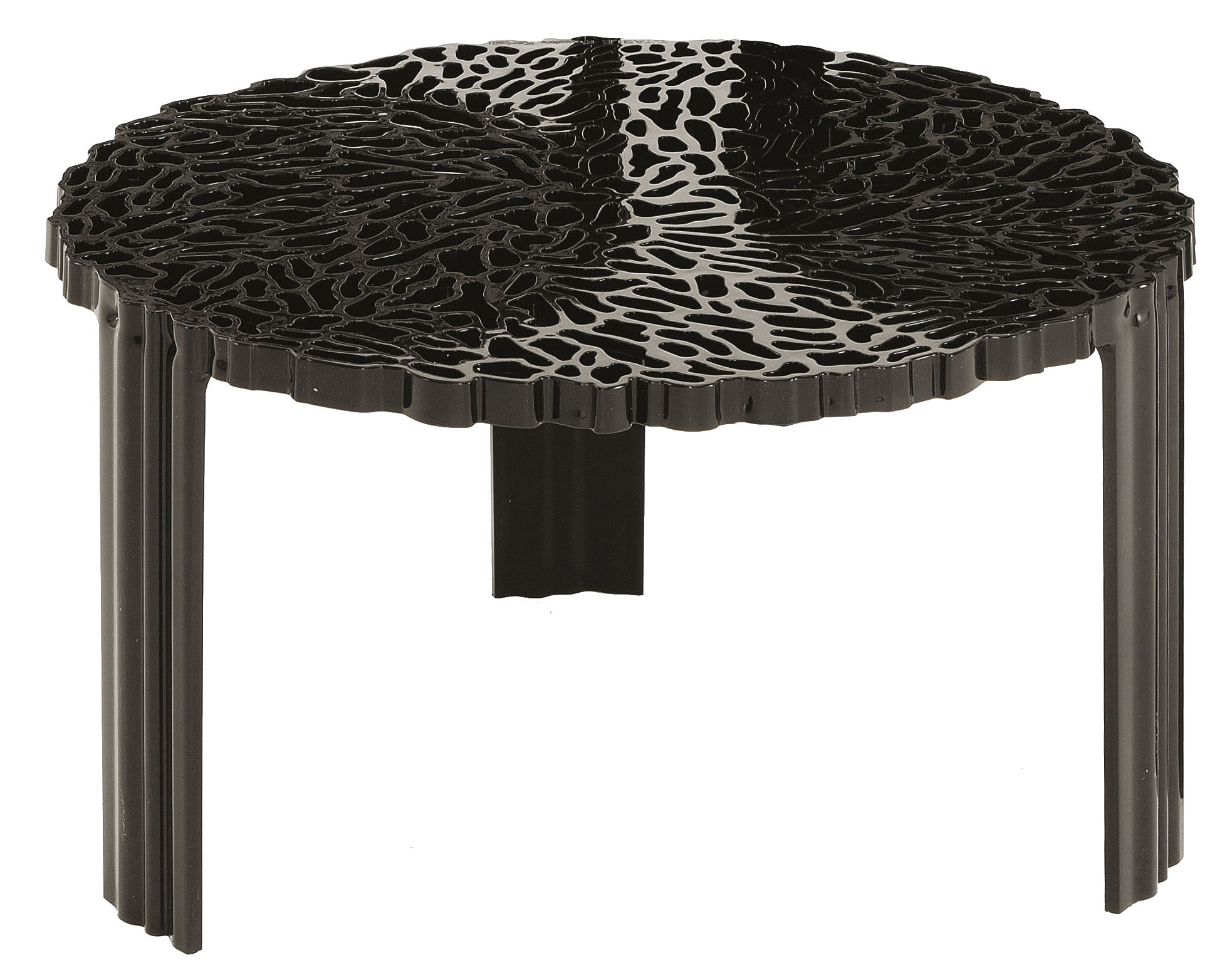 Mobilier - Tables basses - Table basse T-Table Basso / Ø 50 x H 28 cm - Kartell - Noir opaque - PMMA