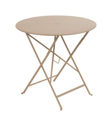 Jardin - Tables de jardin - Table pliante Bistro / Ø 77cm - Trou pour parasol - Fermob - Muscade - Acier laqué