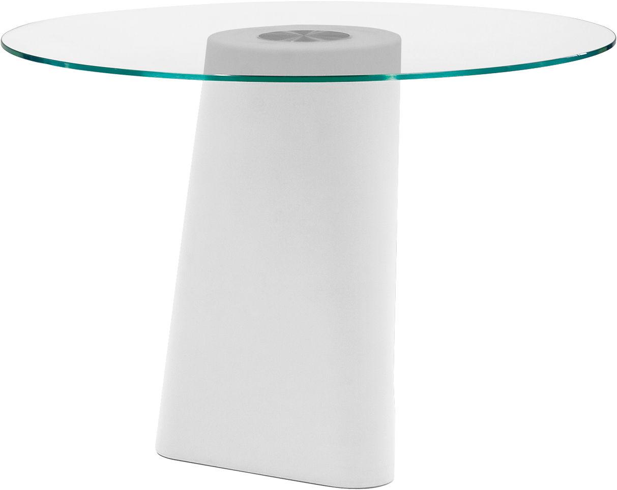 Outdoor - Tables de jardin - Table ronde Adam / Ø 100 cm - B-LINE - Pied blanc / plateau transparent - Polyéthylène, Verre trempé