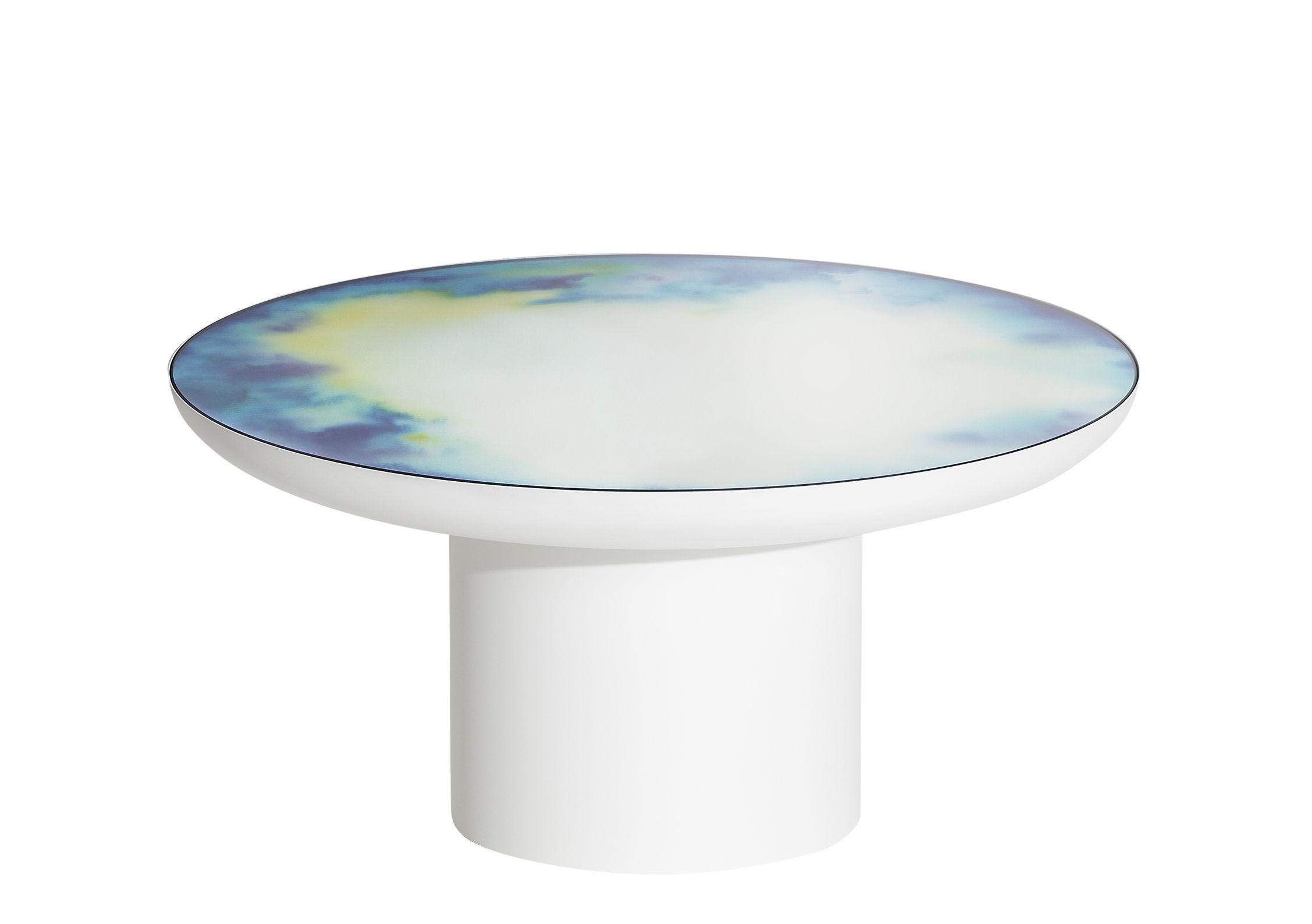 Arredamento - Tavolini  - Tavolino Francis Large - / Ø 75 x H 36 cm - Specchio di Petite Friture - Bianco / Specchio colorato - Acciaio verniciato, Vetro Securit colorato