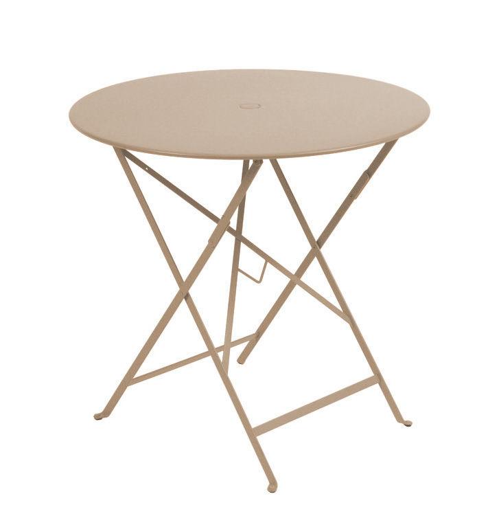Outdoor - Tavoli  - Tavolo pieghevole Bistro - Ø 77cm - Pieghevole - Con foro per parasole di Fermob - Noce moscata - Acciaio laccato