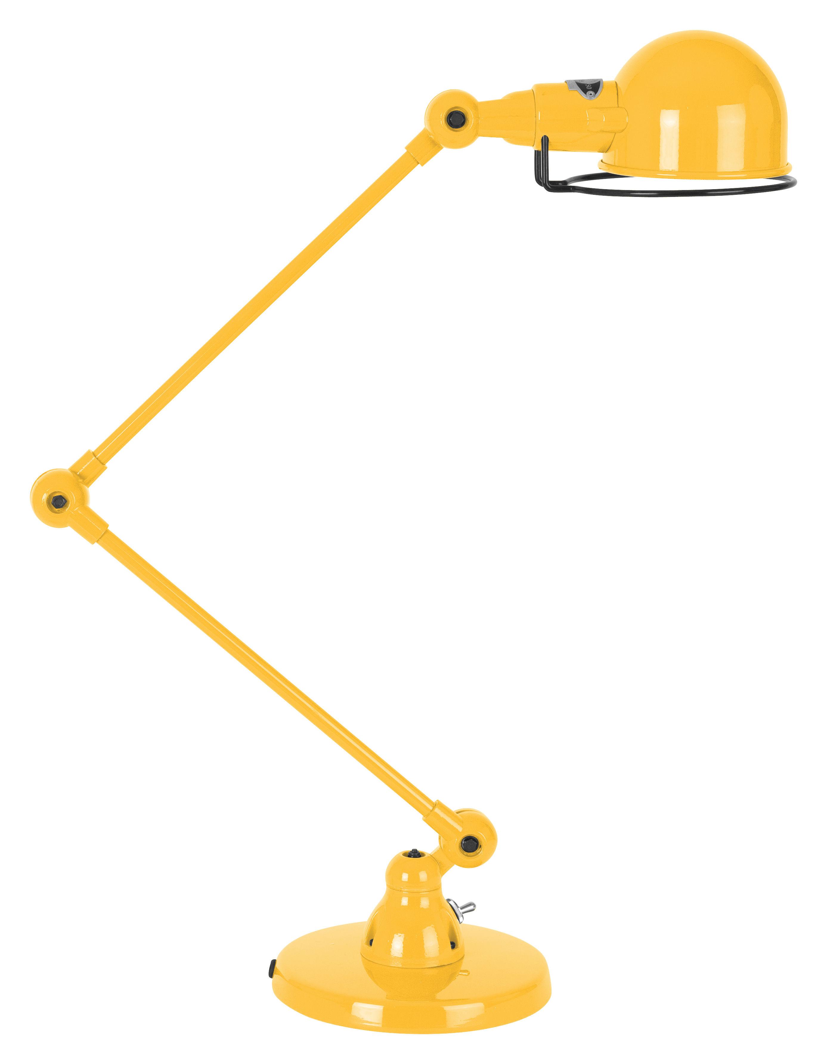 Leuchten - Tischleuchten - Signal Tischleuchte / mit 2 Gelenkarmen - H max. 60 cm - Jieldé - Senffarben, glänzend - rostfreier Stahl