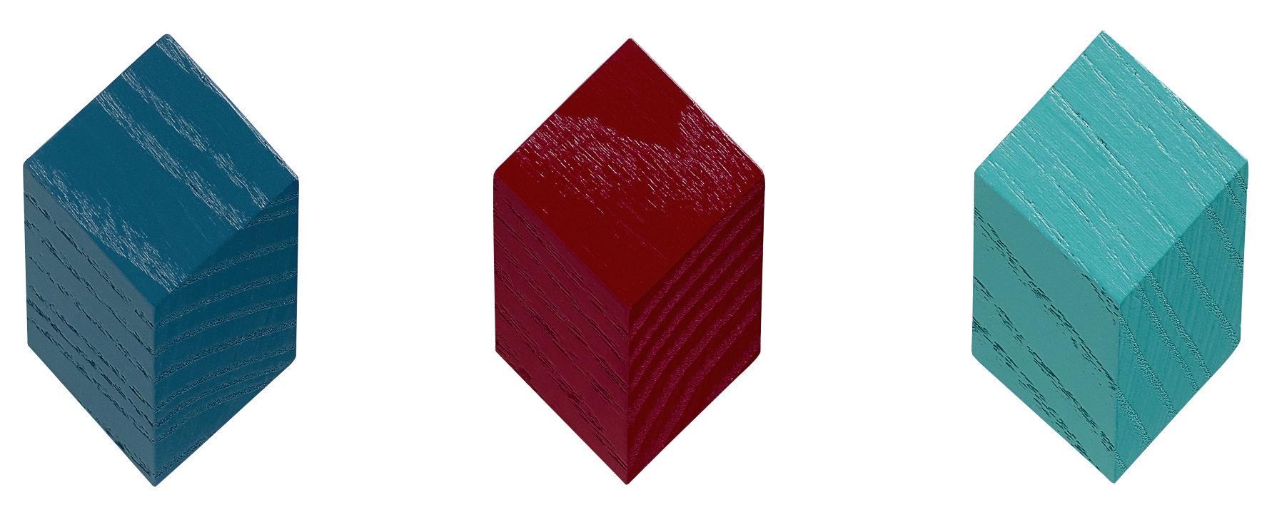 Möbel - Garderoben und Kleiderhaken - Iso Wandhaken / 3er-Set - Hay - Rot / grün - bemalte Esche