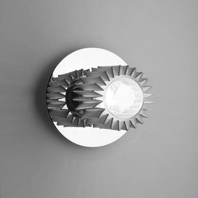 Leuchten - Wandleuchten - In the sun Small Wandleuchte / Deckenleuchte - Ø 19 cm - DCW éditions - Chrom-glänzend / Gitter silberfarben - Aluminium, Glas, Stahl