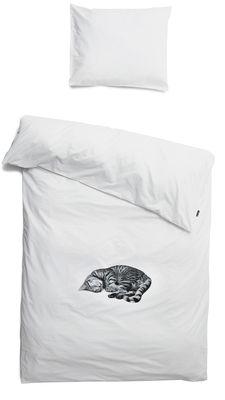 Interni - Per bambini - Biancheria da letto 1 persona Ollie - / 1 persona - 140 x 200 cm di Snurk - Bianco / Gatto grigio - Percalle di cotone