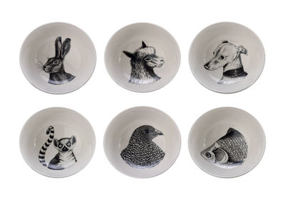 Bol Animals / Set de 6 - Porcelaine - Pols Potten blanc/noir en céramique