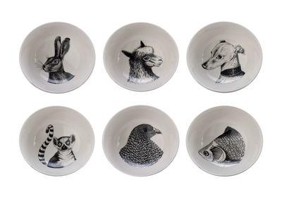 Tableware - Bowls - Animals Bowl - / Set of 6 - Porcelain by Pols Potten - Black & white - Vitrified porcelain