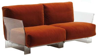 Canapé droit Pop Outdoor 2 places L 175 cm Kartell orange en tissu