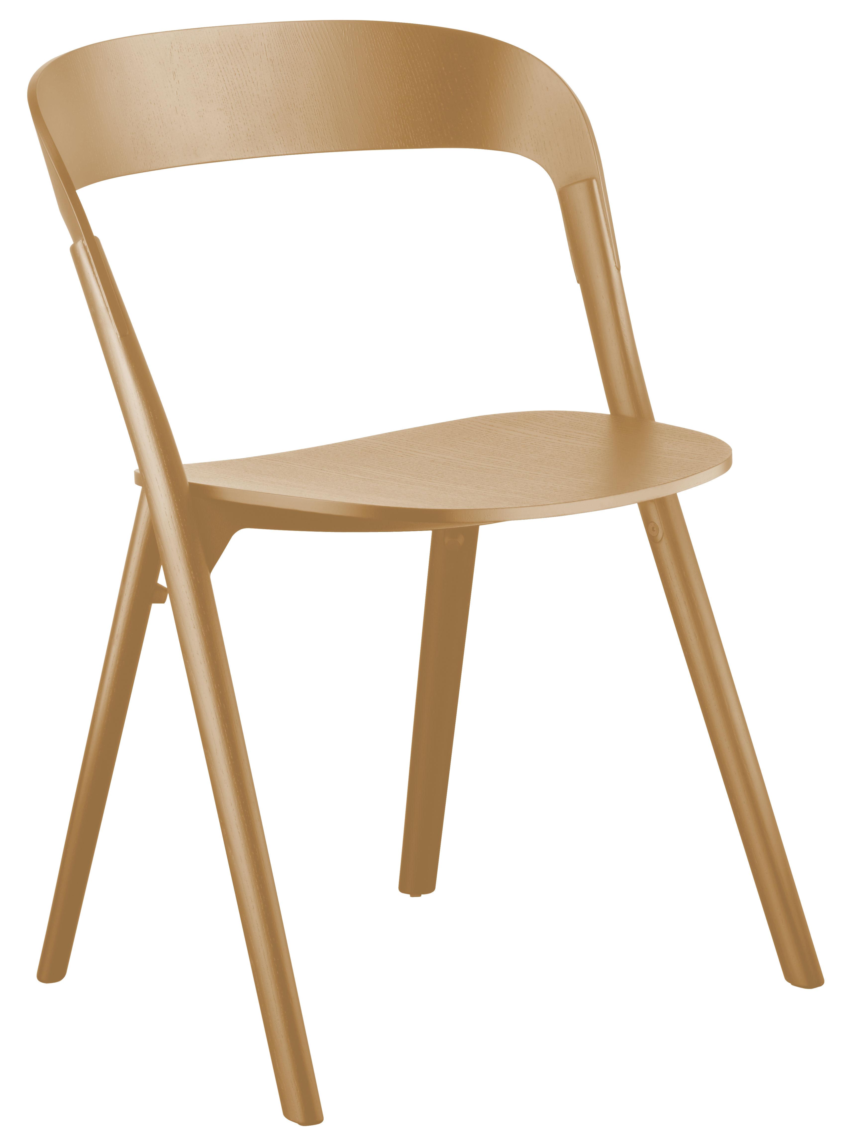 Mobilier - Chaises, fauteuils de salle à manger - Chaise empilable Pila / Bois - Magis - Bois naturel - Fonte d'aluminium, Frêne massif, Multiplis de frêne