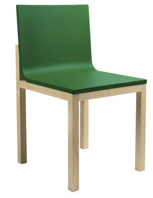 Mobilier - Chaises, fauteuils de salle à manger - Chaise rembourrée Slope / Mousse & pieds bois - Hay - Assise verte / Pieds bois naturel - Chêne, Mousse de polyuréthane