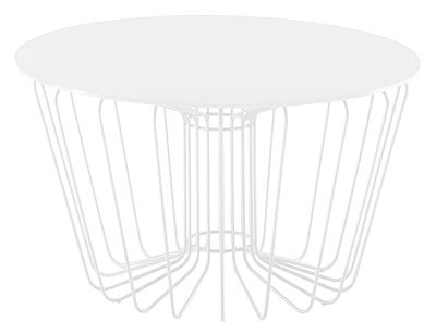 Furniture - Coffee Tables - Wire Coffee table by Zanotta - White leg ant table top - Varnished glass, Varnished steel