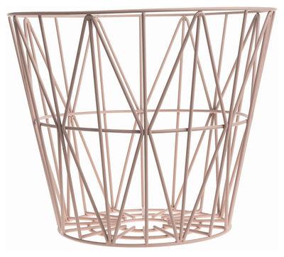 Déco - Salle de bains - Corbeille Wire Medium / Ø 50 x H 40 cm - Ferm Living - Rose - Fil de fer laqué