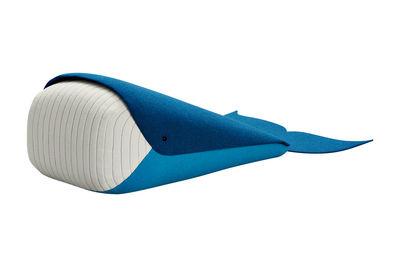 Decoration - Children's Home Accessories - Whale Large Cushion - L 87 x W 47 cm by Elements Optimal - Blue & White / Whale - Foam, Kvadrat fabric
