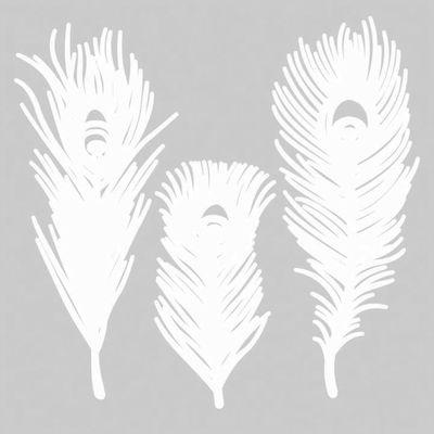 Interni - Oggetti déco - Decorazioni per finestre Mino Plume n°2 - / Set da 3 - Carta di Pa Design - Modello n°2 / Bianco - Carta Washi