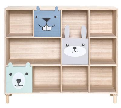 Mobilier - Etagères & bibliothèques - Etagère Animaux / 3 tiroirs - L 107 x H 94 cm - Bloomingville - Bleu, Gris & Turquoise - Bois de paulownia
