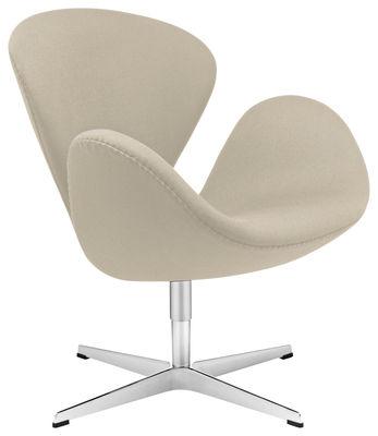 Mobilier - Fauteuils - Fauteuil pivotant Swan chair / Tissu - Fritz Hansen - Taupe - Aluminium, Mousse, Résine, Tissu